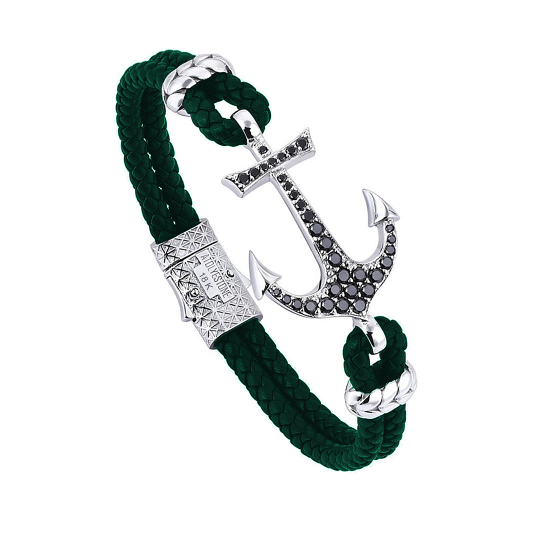 18k White Gold Anchor Leather Bracelet  - Dark Green Leather