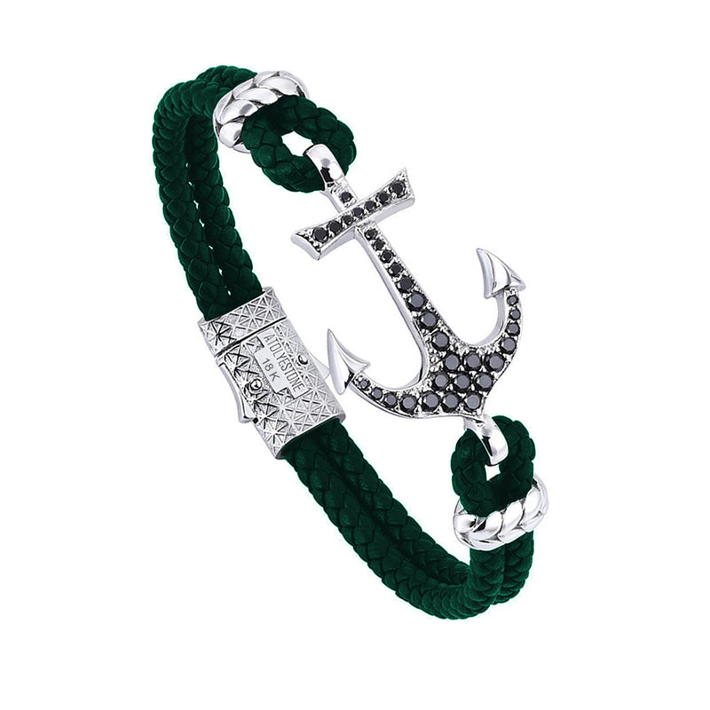 18k White Gold Anchor Leather Bracelet  - Dark Green Leather - Cubic Zirconia
