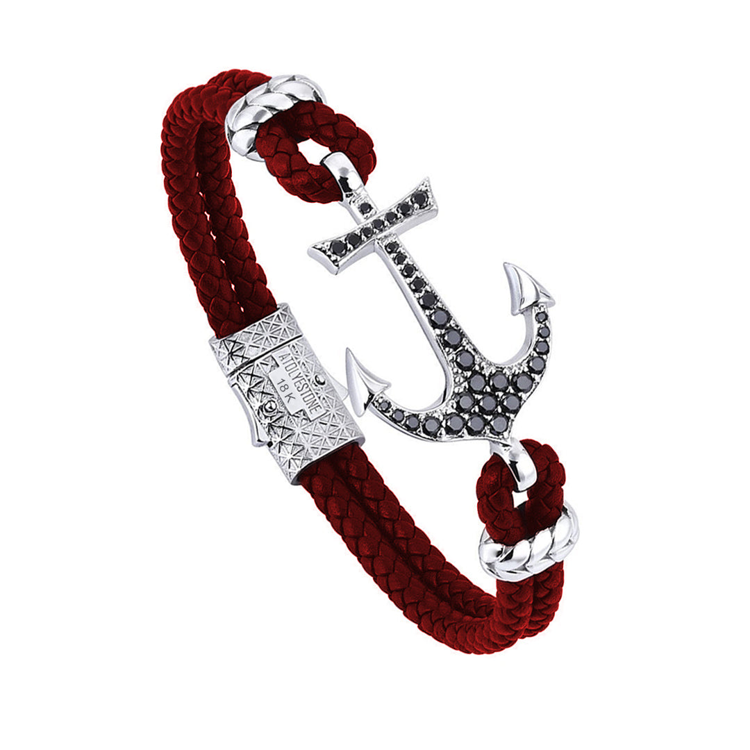 Anchor Leather Bracelet - Solid White Gold - Dark Red