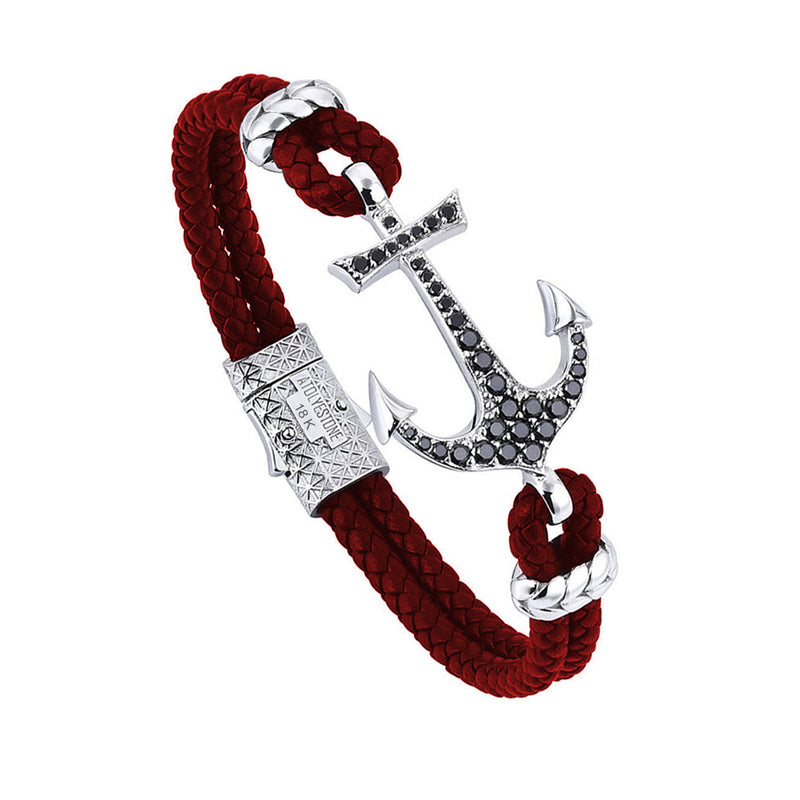 Anchor Leather Bracelet - Solid White Gold - Dark Red - Cubic Zirconia