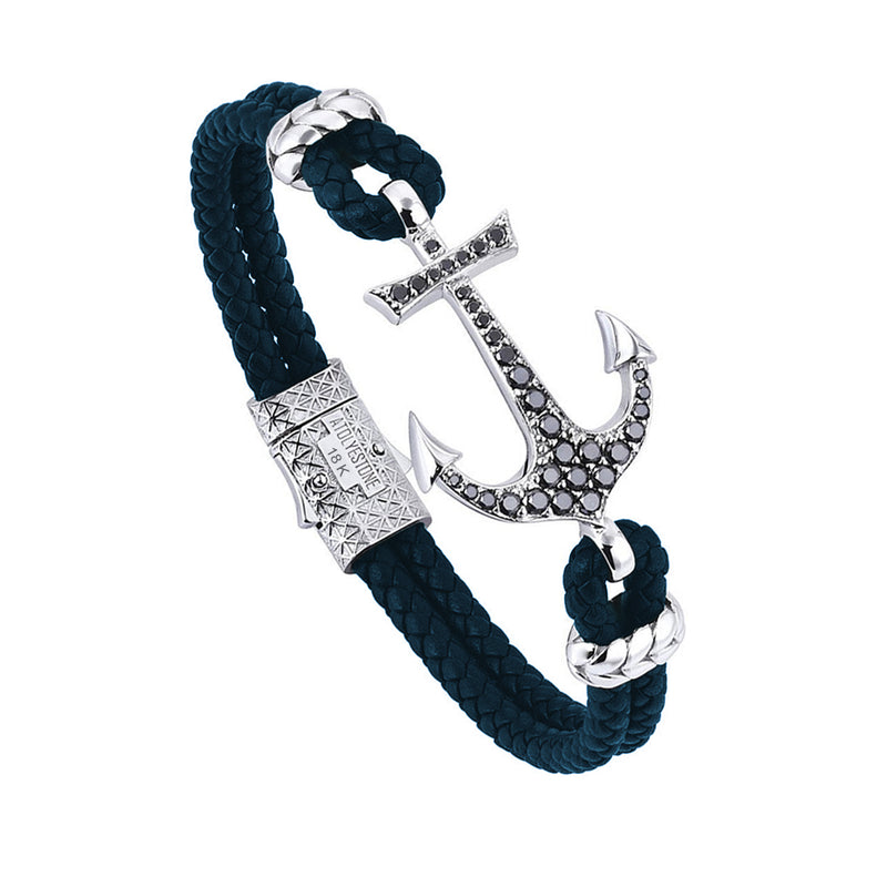 Anchor Leather Bracelet - Solid White Gold - Navy Nappa - Black Diamond