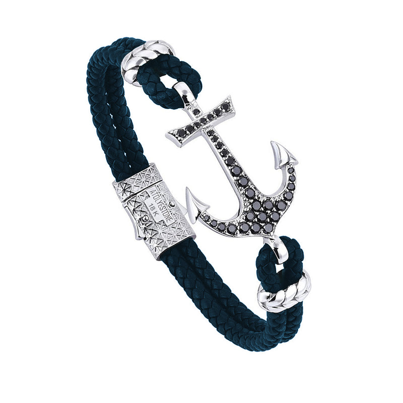 Anchor Leather Bracelet - Solid White Gold - Navy Nappa - Cubic Zirconia