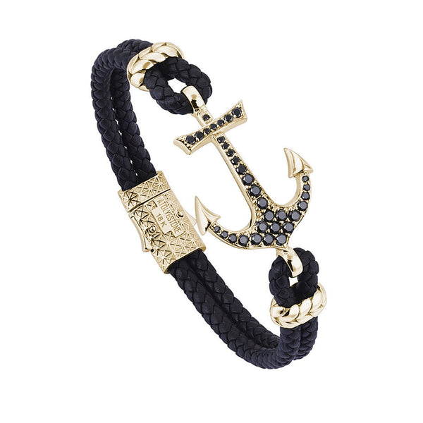 Anchor Leather Bracelet - Solid Yellow Gold - Black Leather - Cubic Zirconia