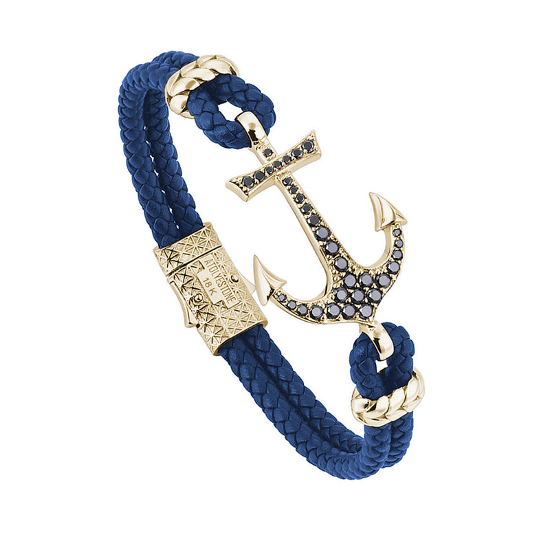 Anchor Leather Bracelet - Solid Yellow Gold - Blue Leather - Black Diamond