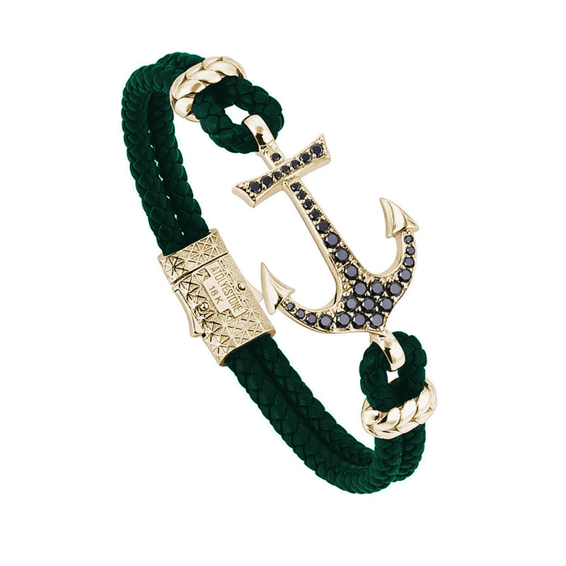 Anchor Leather Bracelet - Solid Yellow Gold - Dark Green Leather - Cubic Zirconia