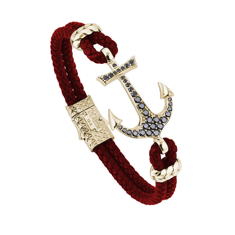 Anchor Leather Bracelet - Solid Yellow Gold - Dark Red Leather - Black Diamond