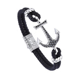 Anchor Leather Bracelet - Silver