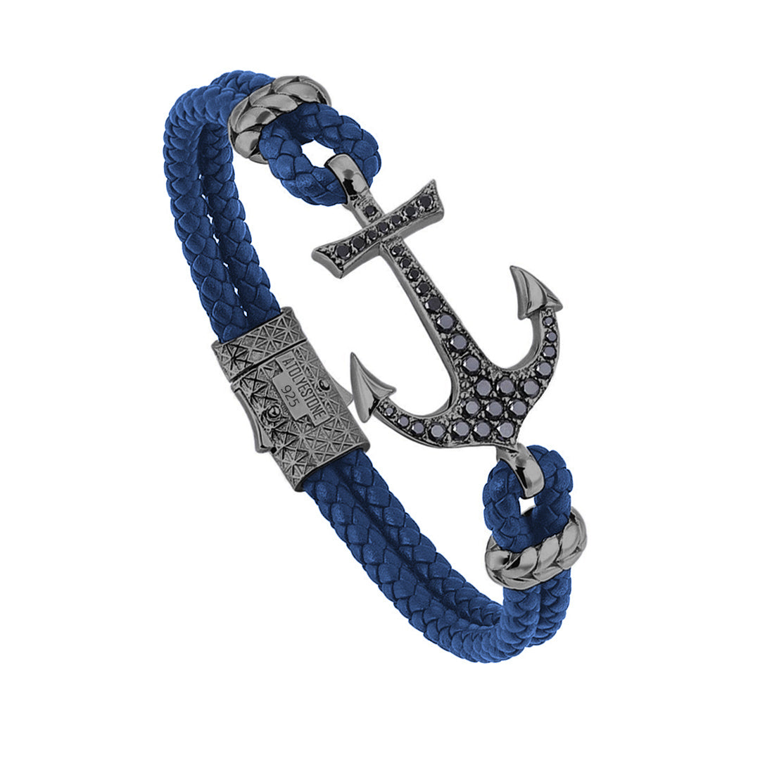 Anchor Leather Bracelet - Silver - Gunmeatal - Blue Leather