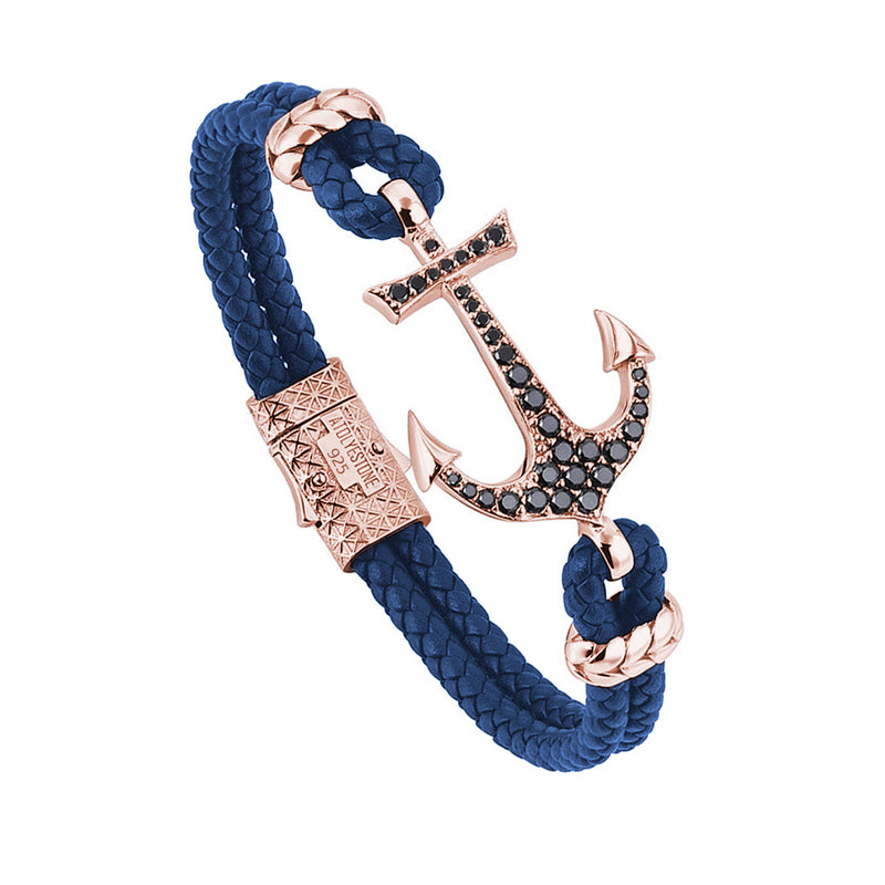 Anchor Blue Leather Bracelet - Silver - Rose Gold