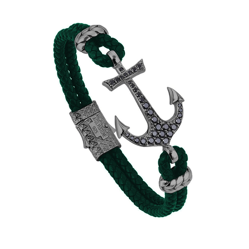 Anchor Leather Bracelet - Silver - Gunmetal - Dark Green Leather