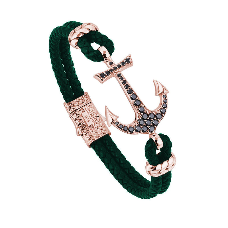 Anchor Leather Bracelet - Silver - Rose Gold - Dark Green Leather