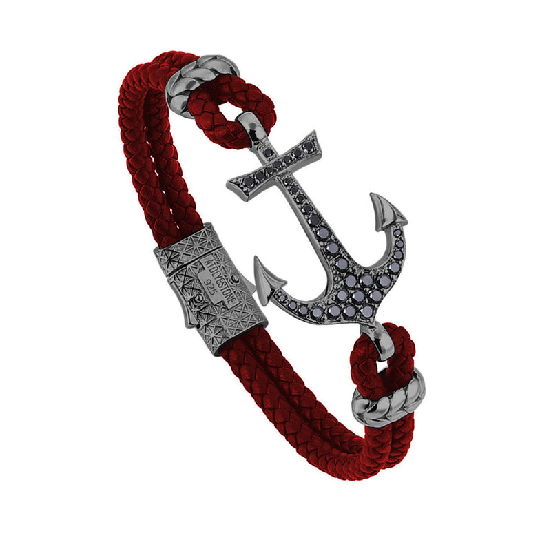 Anchor Leather Bracelet - Silver - Gunmetal - Dark Red Leather