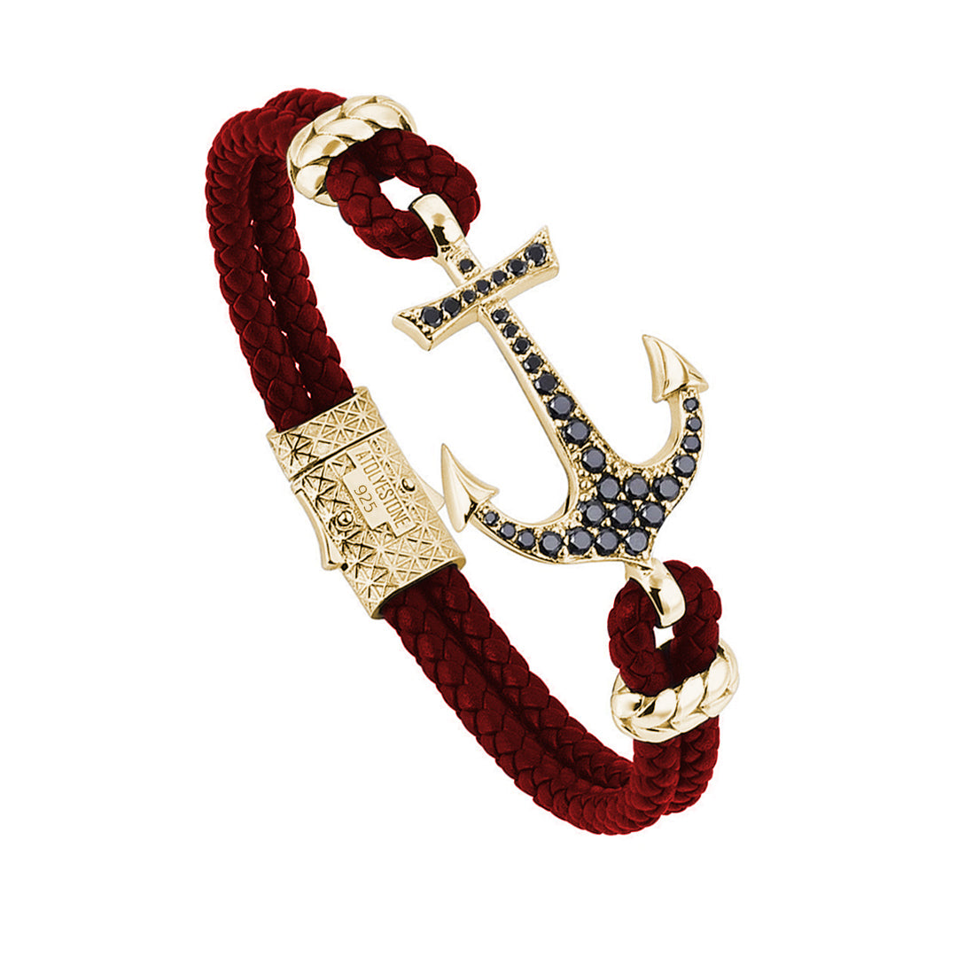 Anchor Dark Red Leather Bracelet - Yellow Gold Plated Silver