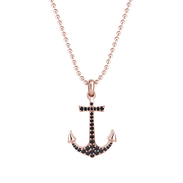 Anchor Necklace - Rose Gold - Pave Cubic Zirconia