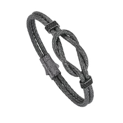 Mens Artillery Bangle - Silver - Gunmetal