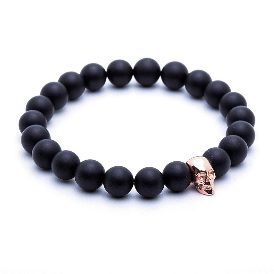 Skull Beaded Bracelet - Rose Gold - Agate