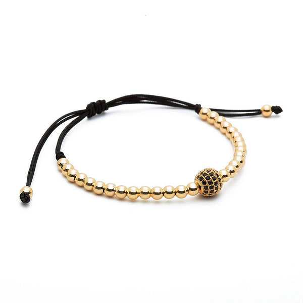 Solitaire Ball Macrame - Silver - Yellow Gold