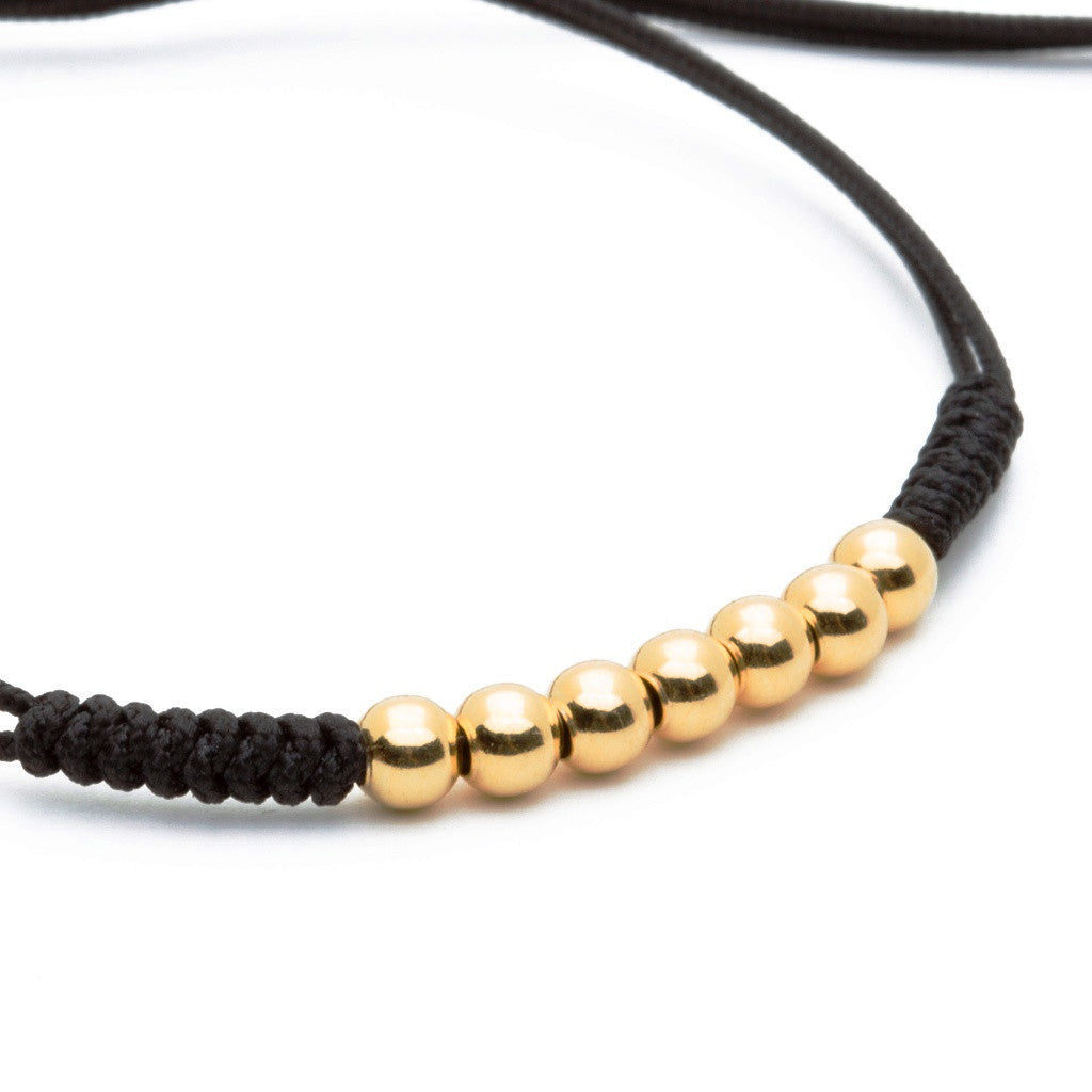 Women's Gold Macrame - 7 Balls Black, Yellow Gold