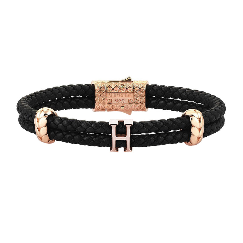 Women's Atolyestone Statement - Rose Gold - Black Leather