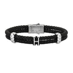 Women's Atolyestone Statement - Solid Silver - Black Leather
