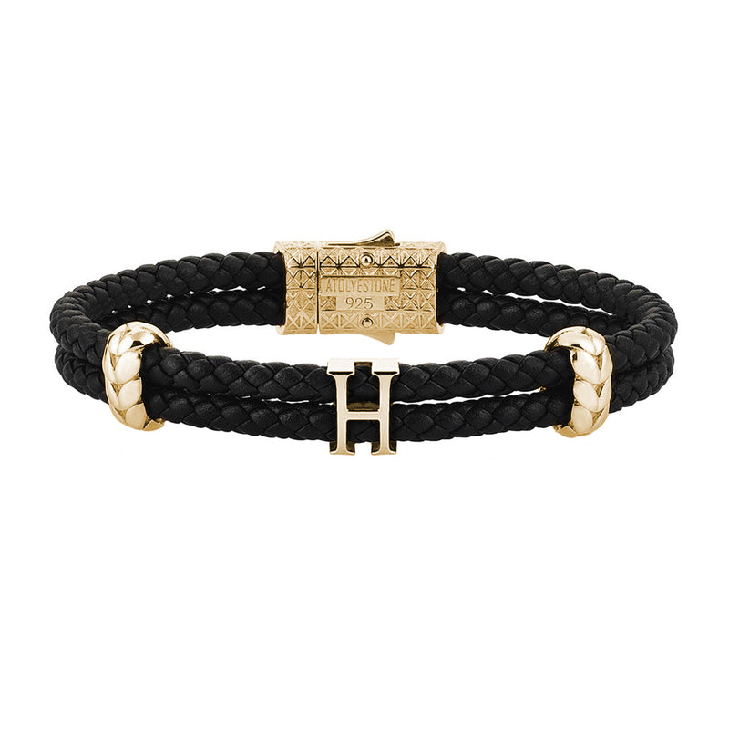 Women's Atolyestone Statement - Yellow Gold - Black Leather