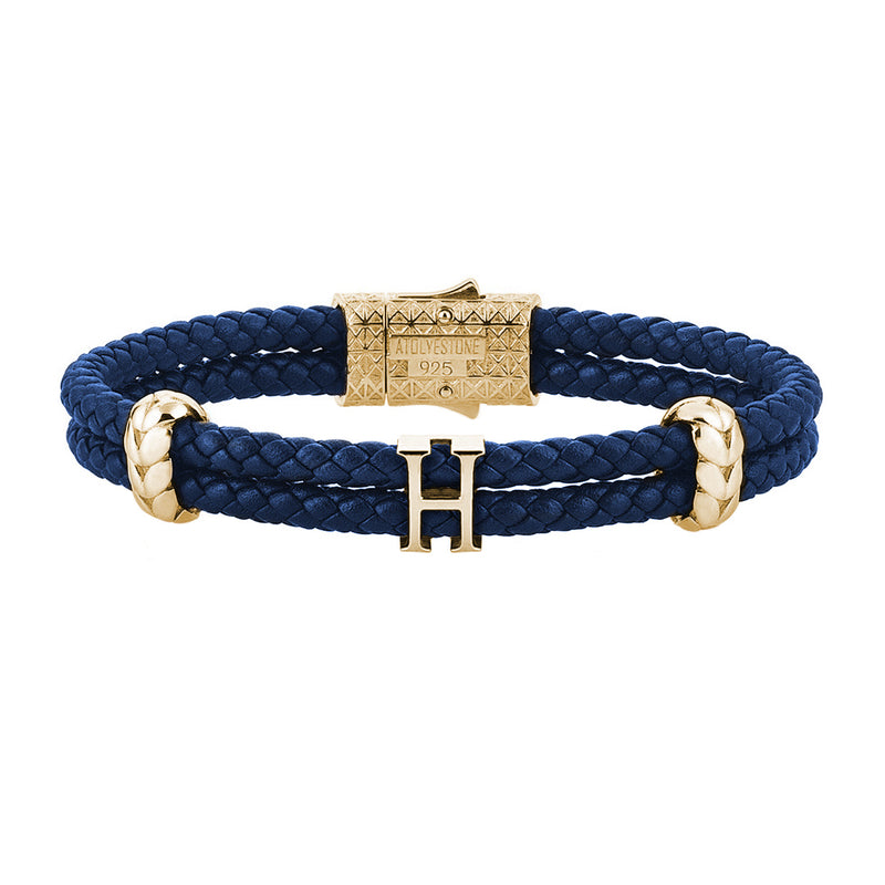 Women's Atolyestone Statement - Yellow Gold - Blue Leather