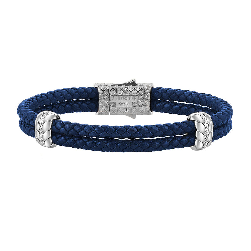 Diamond Elements Leather Bracelet - Blue