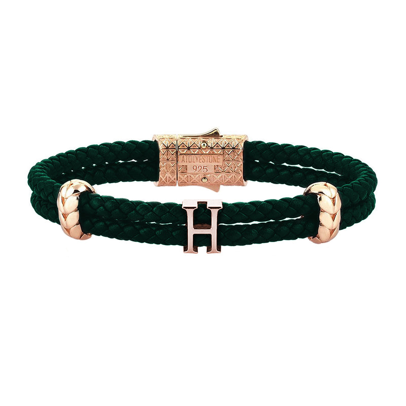 Women's Personalised Leather Bracelet - Rose Gold - Dark Green Leather