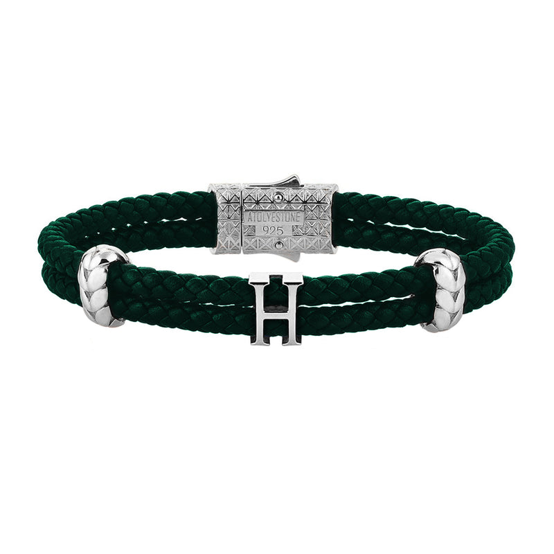 Women's Atolyestone Statement - Solid Silver - Dark Green Leather