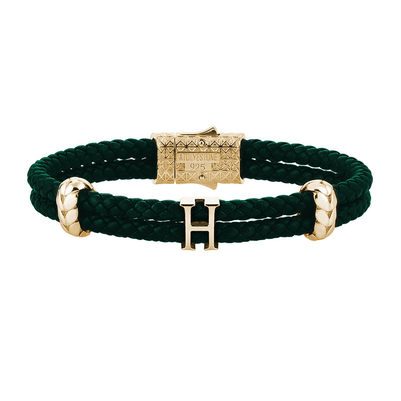 Women's Atolyestone Statement - Yellow Gold - Dark Green Leather