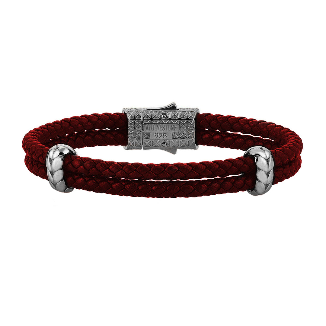 Atolyestone Elements - Solid Silver - Gunmetal - Dark Red Leather