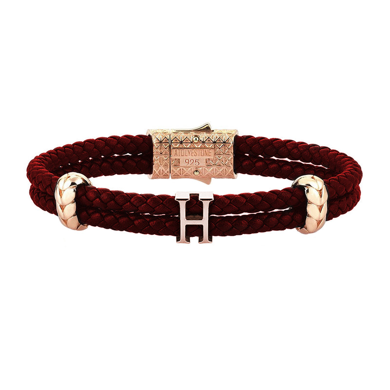 Women's Atolyestone Statement - Rose Gold - Dark Red Leather