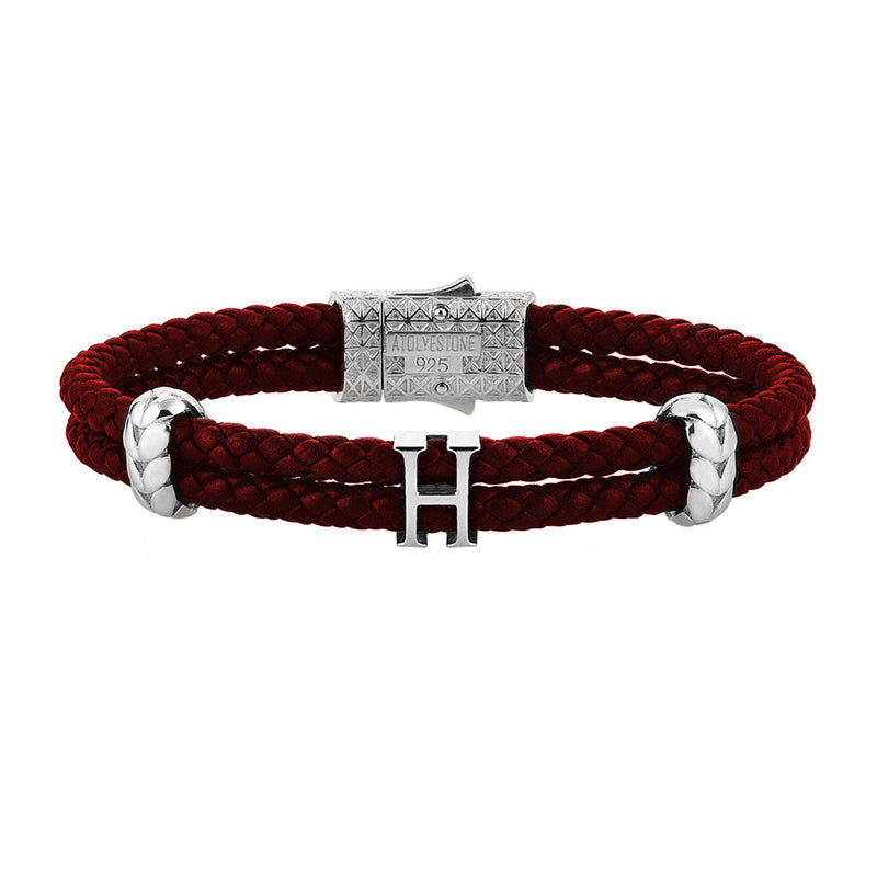 Women's Atolyestone Statement - Solid Silver - Dark Red Leather