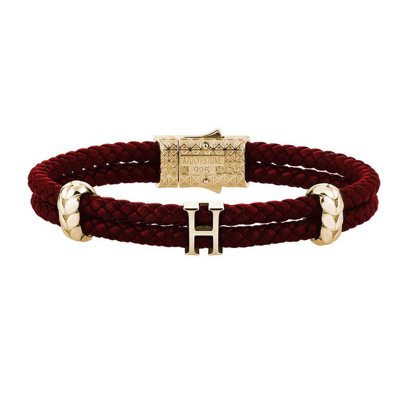 Women's Atolyestone Statement - Yellow Gold - Dark Red Leather