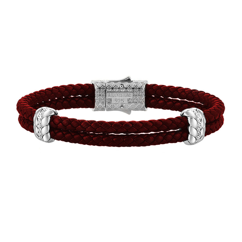 Diamond Elements Leather Bracelet - Dark Red