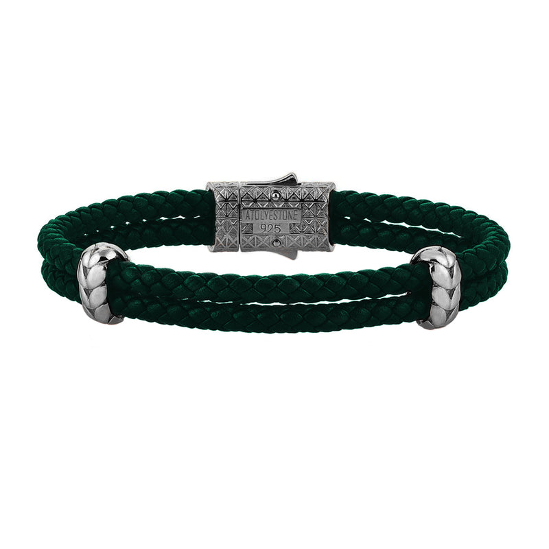Atolyestone Elements - Solid Silver - Gunmetal - Dark Green Leather