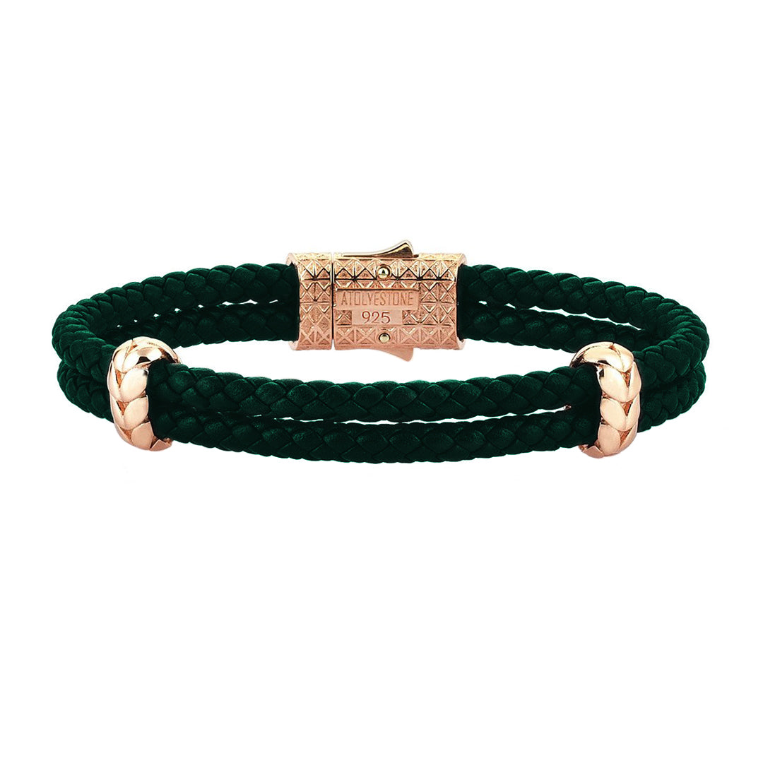 Atolyestone Elements - Solid Silver - Rose Gold Plated - Dark Green Leather