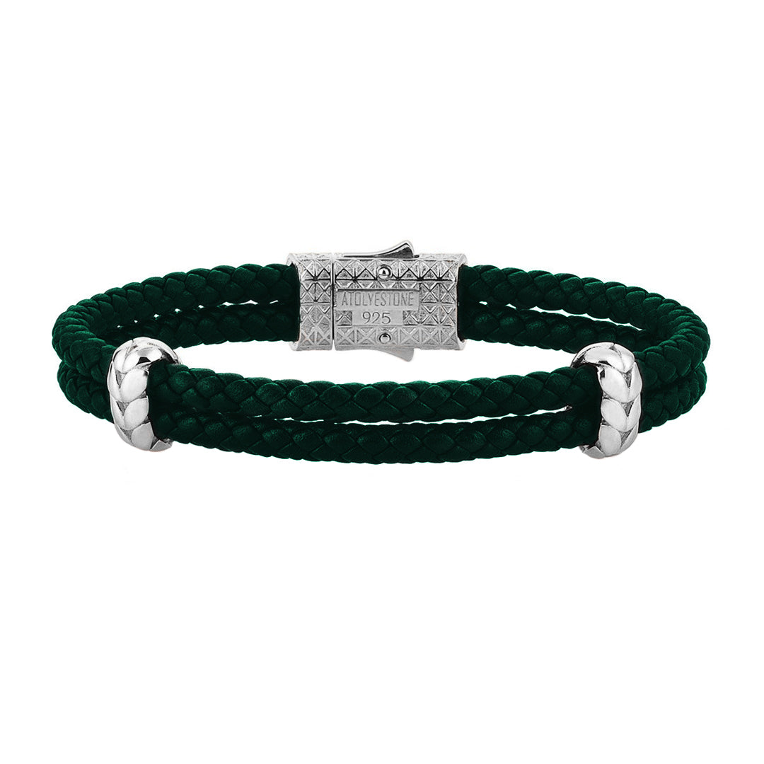 Atolyestone Elements - Solid Silver - Dark Green Leather