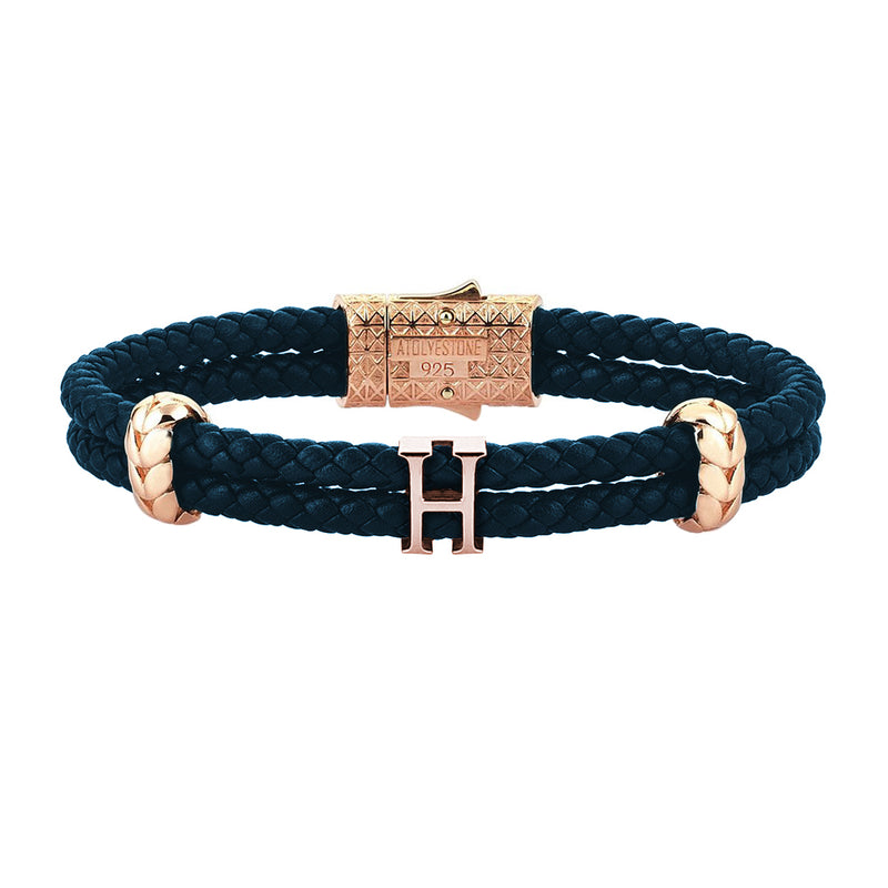 Women's Personalised Leather Bracelet - Rose Gold - Navy