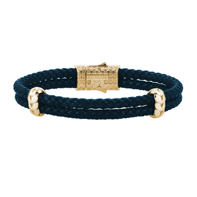 Atolyestone Elements - Yellow Gold - Navy Nappa
