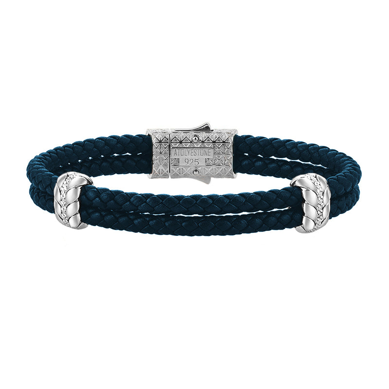 Diamond Leather Bracelet - Navy