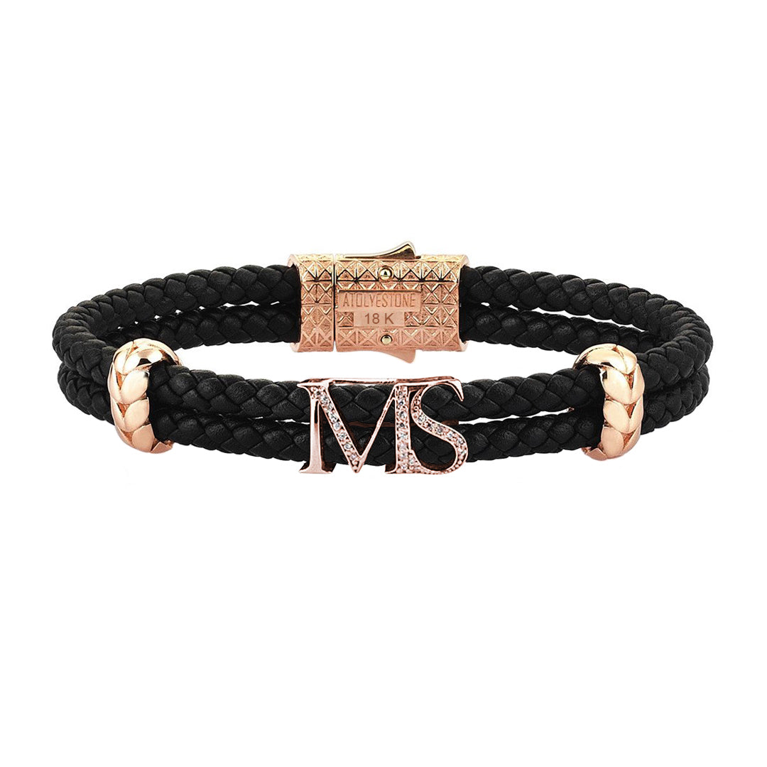 Atolyestone Statements - Solid Rose Gold - Black Leather