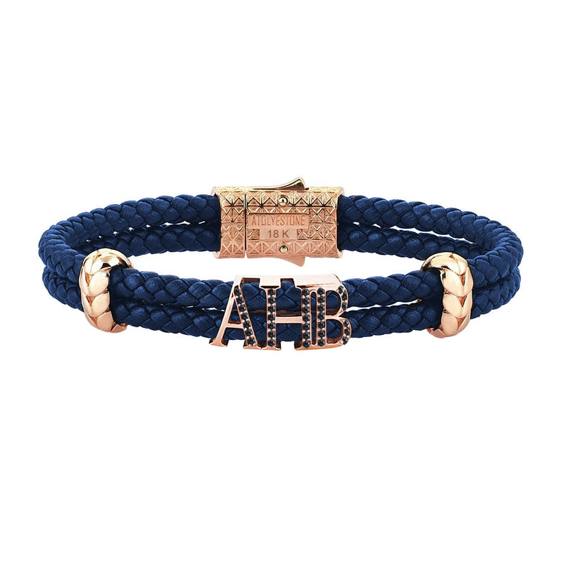 Atolyestone Statements - Solid Rose Gold - Blue Leather - Black Diamond