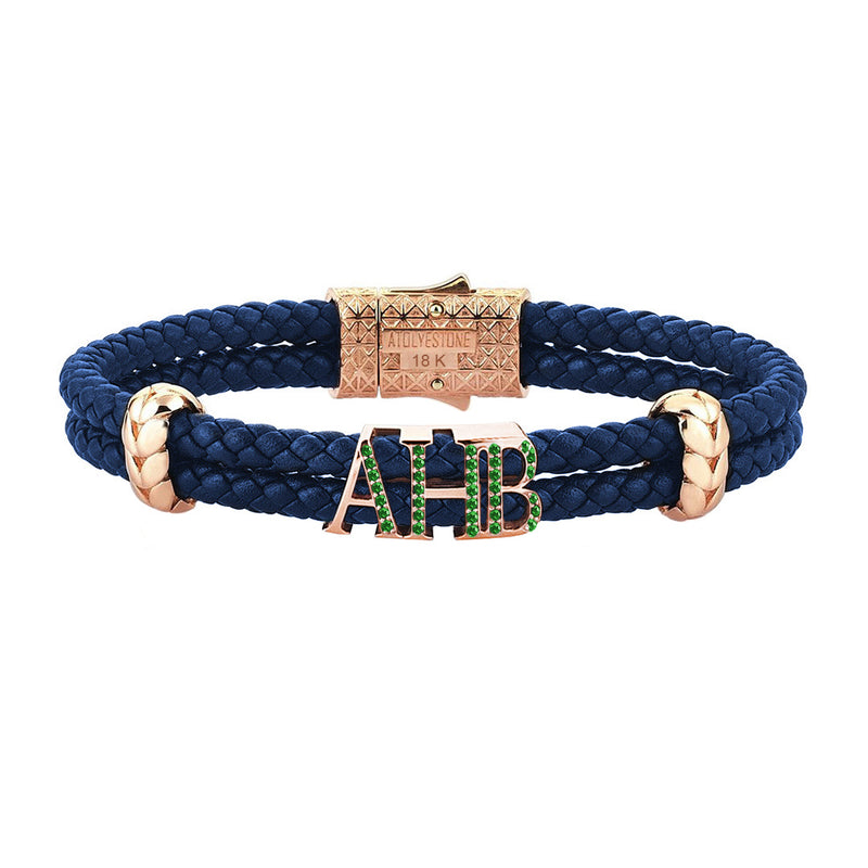 Atolyestone Statements - Solid Rose Gold - Blue Leather - Emerald