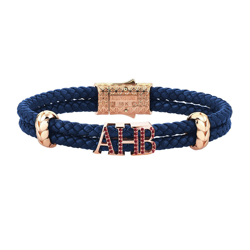 Atolyestone Statements - Solid Rose Gold - Blue Leather - Ruby