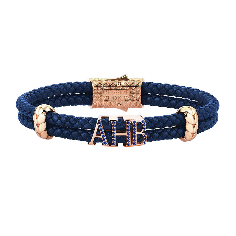 Atolyestone Statements - Solid Rose Gold - Blue Leather - Sapphire