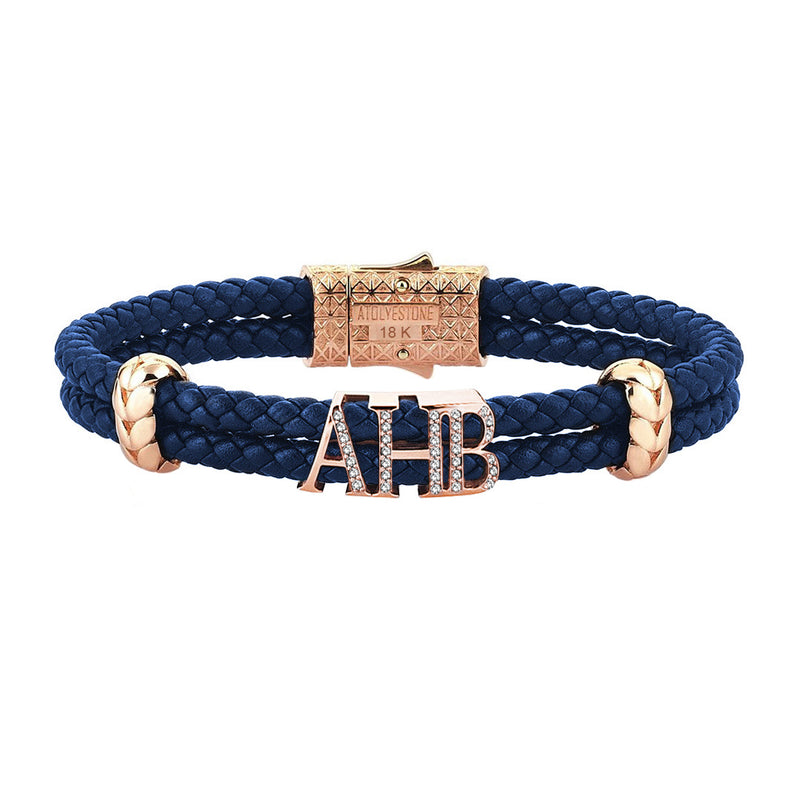Atolyestone Statements - Solid Rose Gold - Blue Leather - White Diamond