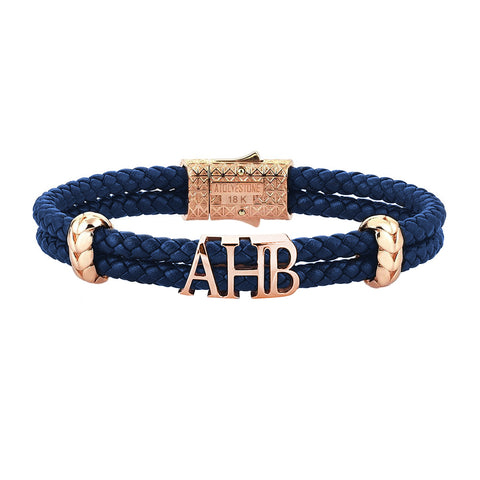 Anchor Leather Bracelet -Solid Rose Gold
