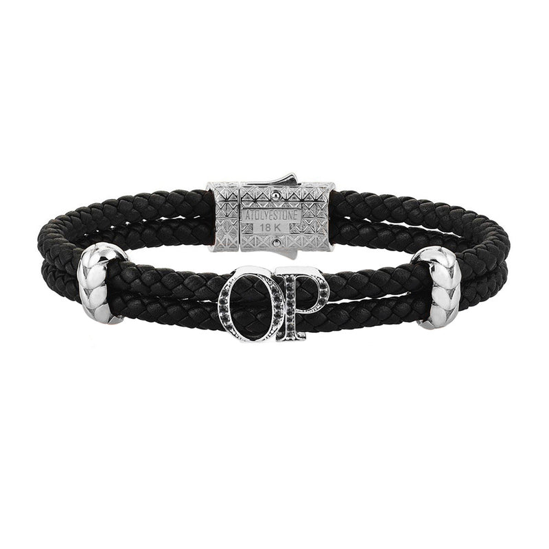 Atolyestone Statements - Solid White Gold - Black Leather - Cubic Zirconia