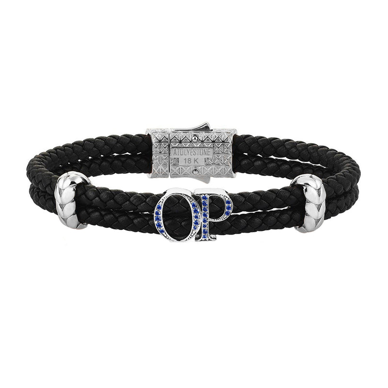 Atolyestone Statements - Solid White Gold - Black Leather - Sapphire